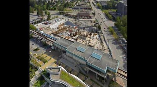 "Construction site and ""skytrain"" station"