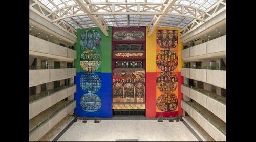 """Mural """"Congresos Constituyentes"""" de Guillermo Ceniceros, en el Congreso de la Unión."""