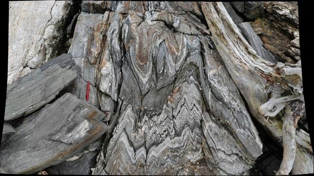Folded metamorphic rocks exposed along the shore of Cabbage Island, Maine
