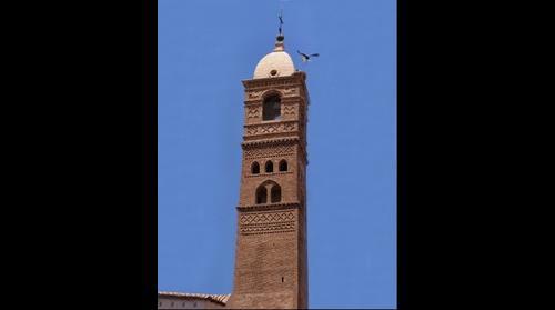 Torre de la iglesia de la Magdalena de Tarazona ,fué sede episcopal en tiempo de los visigodos (Obispo Leon)