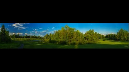 The Bog, Seventeenth hole (dogleg left); Saukville, WI