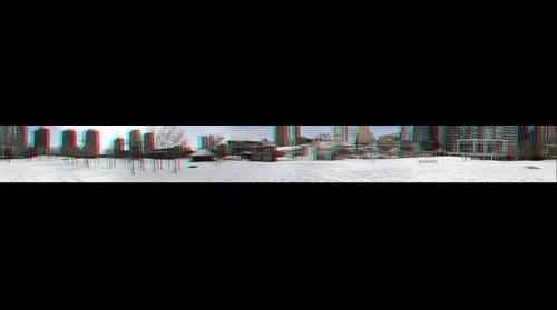 360 degree stereo anaglyph panorama of downtown Toronto