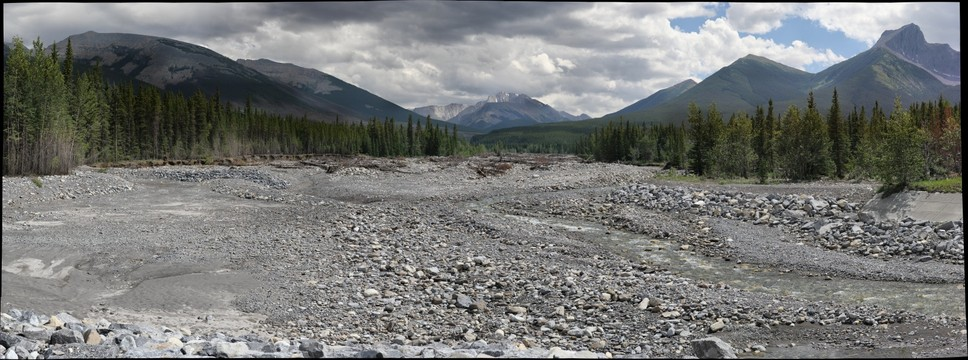 Flood deposits on Evan Thomas Creek, Kananaskis Trail, Alberta