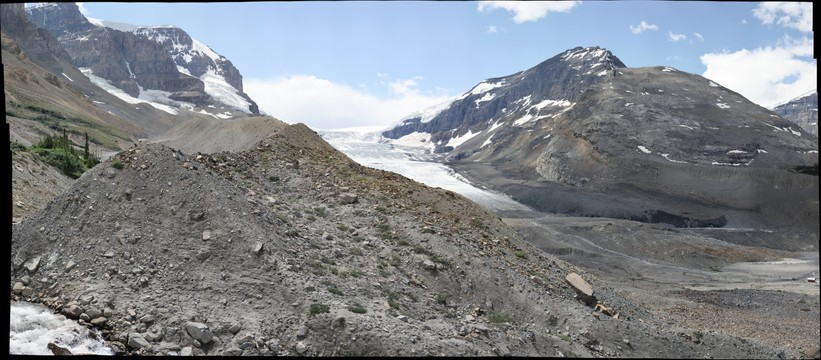 South lateral moraine, Athabasca Glacier (end-on view)