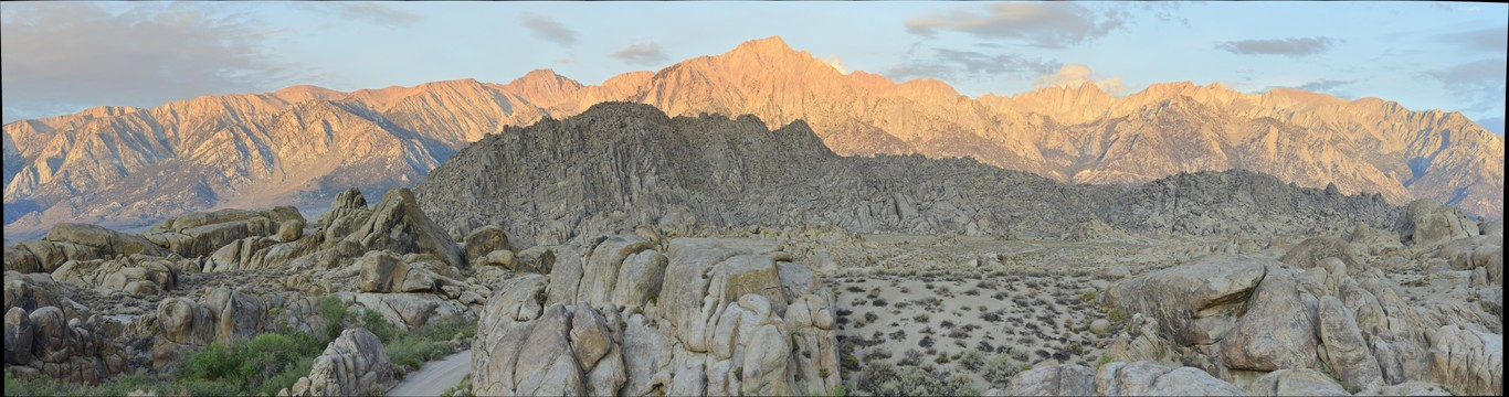 Sierra Nevada with Mount Whitney and Alabama Hills Sunrise