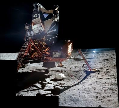 Apollo 11 - Buzz Aldrin exiting the LM
