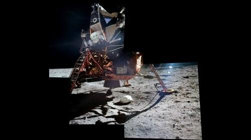Apollo 11 - Buzz Aldrin exiting the LM