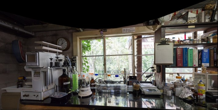 Sasha Shulgin's lab, the workbench under the window
