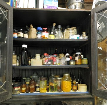 Sasha Shulgin's lab: chemical storage cabinets (right side)