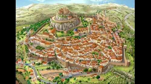 Vista aérea de Morella, en Castellón, España.