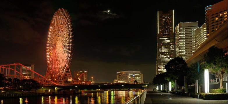 A Ferris wheel urban landscape