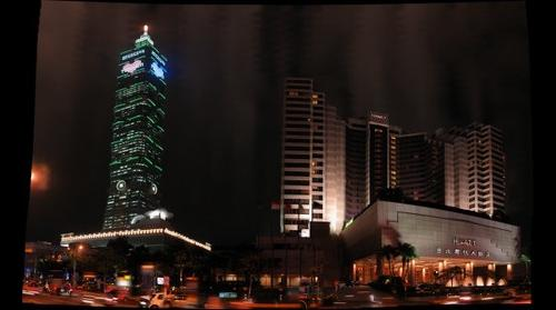 Taipei 101 & Hyatt hotel at night