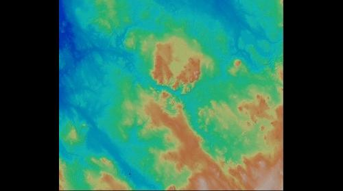 Iceberg scours are shown in digital terrain model, visualized from lidar data