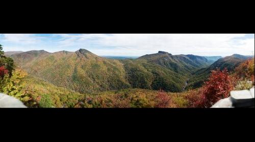 Hawksbill Mountain, Table Rock Mountain and Linville Gorge from Wiseman's View