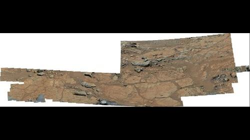 MSL Curiosity Mastcam 100 near field super-panorama of Yellowknife Bay area - redone using PDS raw image data, Gale Crater
