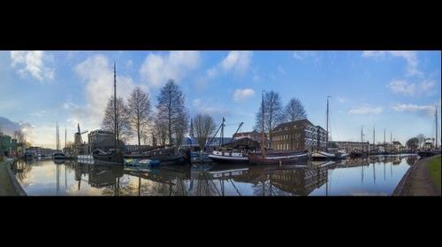 Panorama museum harbour Gouda