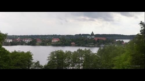 Ratzeburg, Blick von der Schönen Aussicht (Bäk) zur Domhalbinsel
