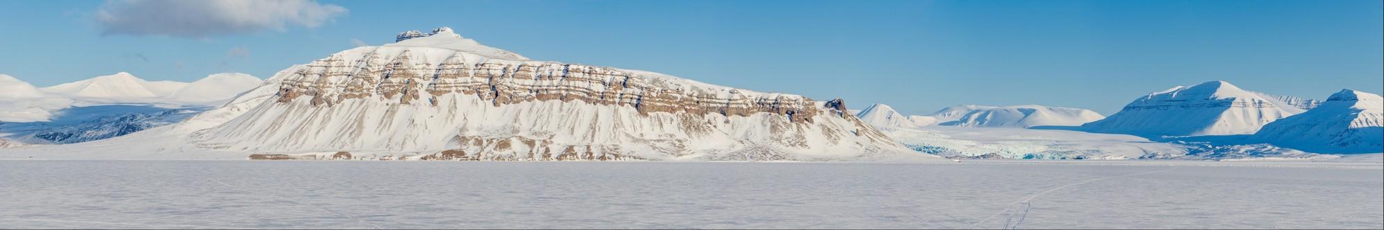 Winter on Svalbard - view of Petuniabukta and local glacier