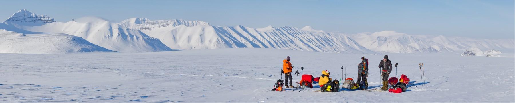 Winter ski expedition on glacier