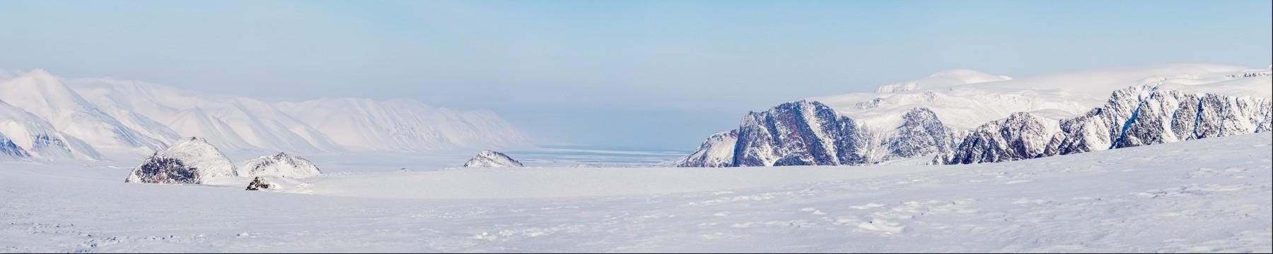 Winter landscape on Svalbard glacier