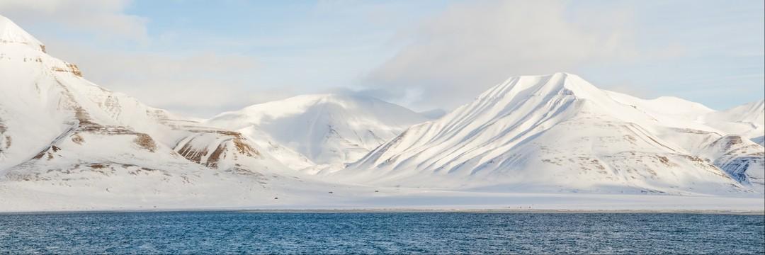 Mountainous sea coast of Svalbard