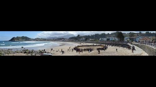 Panoramica playa SantaMarina, Exhibición equina, 2015