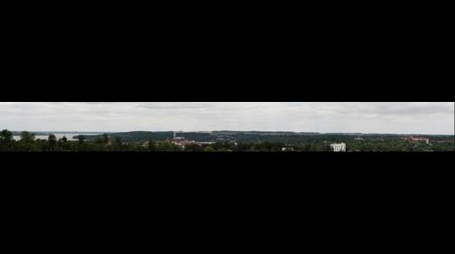 Ratzeburg Blick von Süden auf Stadt und Seen in Richtung Lübeck