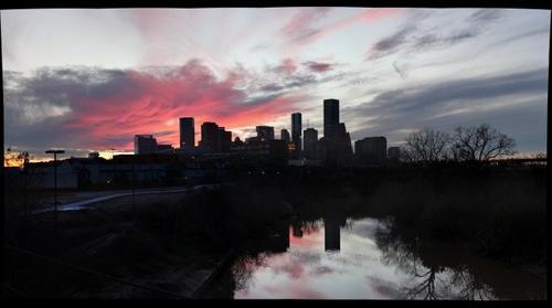 Gigapan Houston Skyline Sunset Jensen St. Bridge over Buffalo Bayou 77003 1-24-15
