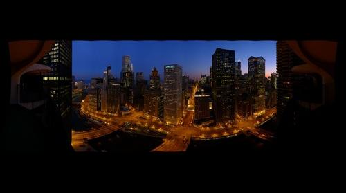 Chicago at dusk from Marina City