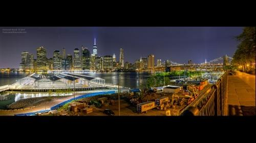 Night Manhattan HDR panorama from Brooklyn heights promenade