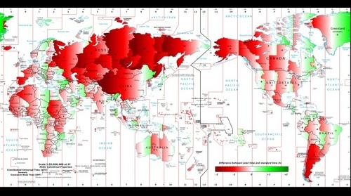 World map of difference between solar time and clock time