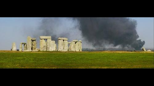 Stonehenge with smoke