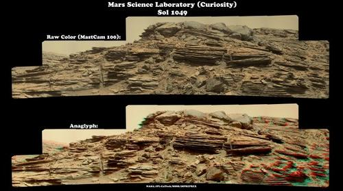 Mars Science Laboratory (Curiosity) - Sol 1049 (with anaglyph)
