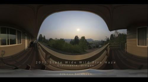 Summer 2015 wild fire haze from Clatskanie, Oregon 360 panorama
