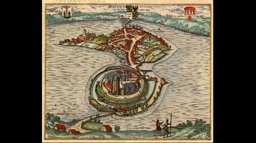 Ratzeburg 1588 Kupferstich von Gert Hane (farbige Fassung)