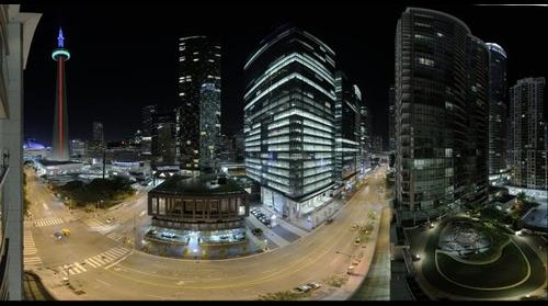Downtown Toronto, Canada at night in the summer of 2015