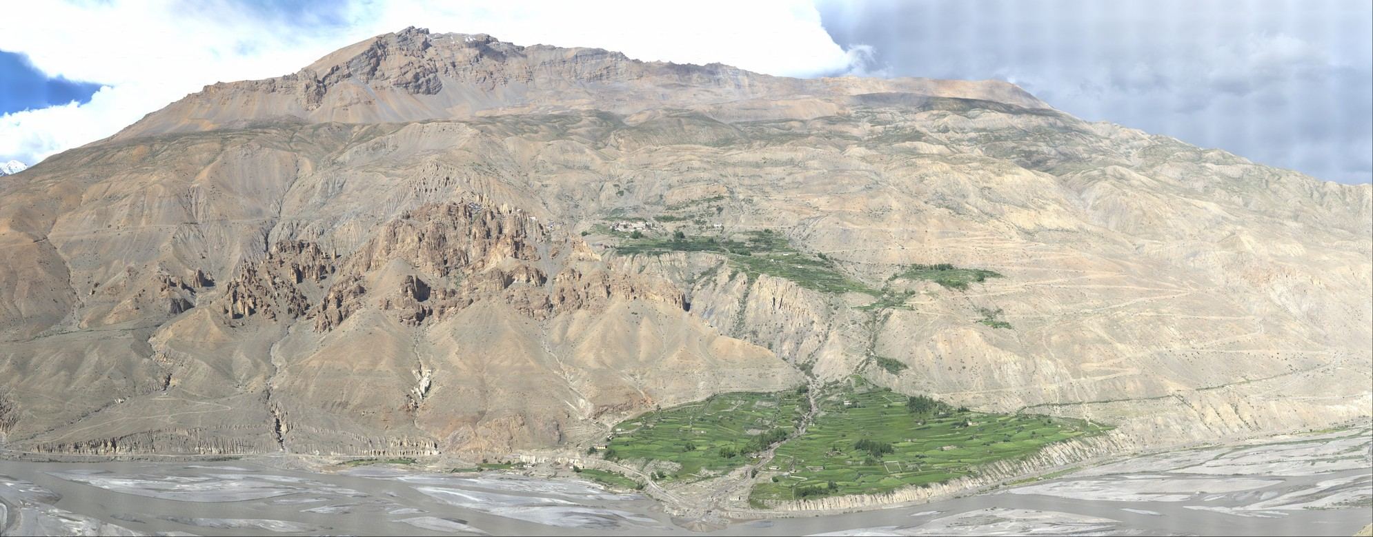 Dangkhar landslide (central part) seen uphill of Siluk