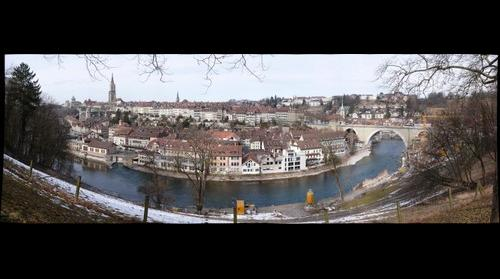 Bern view at the oldtown and river Aare