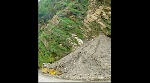 Landslide impacts school bus, 2015 Nepal-Gorkha Earthquake