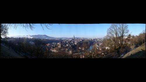 Bern view at the old town from Rosengarten