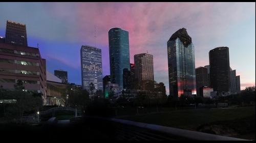 Downtown Houston Texas Sunset from Footbridge at Buffalo Bayou 12-23-15
