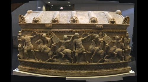 Roman Officer Marble Sarcophagus - Battle Depicting Soldiers versus Amazons (Warrior Women) MFAH