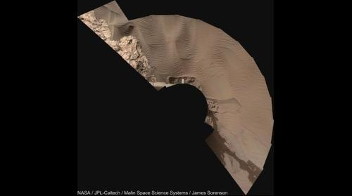MSL Curiosity Sol-1121 Mastcam-34 Namib Dune Sampling Workspace (Vertical Projection)