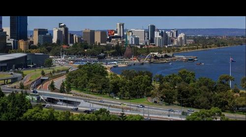 Elizabeth Quay on opening day from Kings Park Viewing Platform, Perth Western Australia, Jan 29, 2016 at 1:45pm