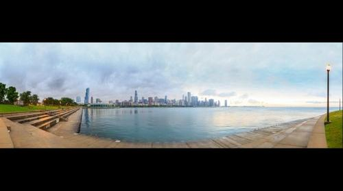 Chicago Skyline from Northerly Island, Jun 30, 2014 from 6:35 to 6:38 am