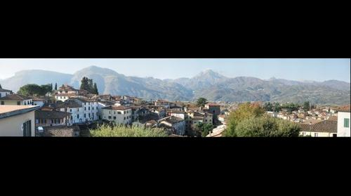 Barga and Appenine Mountains from Piazza del Duomo