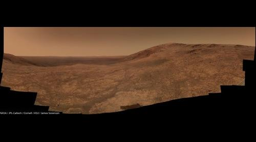 MER-B Opportunity's view of Marathon Valley as it scouts for Smectites!