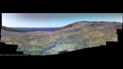 MER-B Opportunity's view of Marathon Valley as it scouts for Smectites! (False Color)