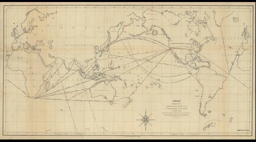 World map by M.F. Maury