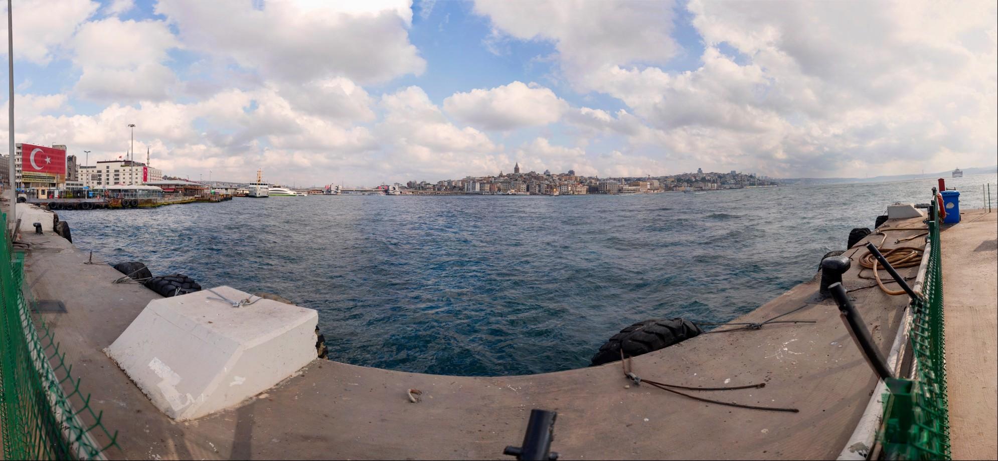 Galata  Bridge to Bosphorus Bridge panorama from Sirkeci Ferry